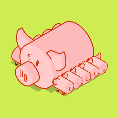 Sows and piglets. mother pig. Piggy isometry Farm animal. Vector illustration Illustration