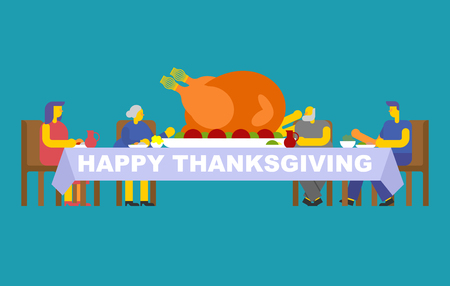 Thanksgiving family dinner. Turkey on big table. Traditional Autumn holiday. Relatives eat. Father and mother. Grandmother and grandfather.