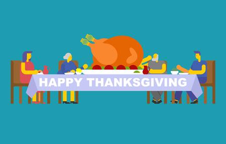 Dîner de famille de Thanksgiving. Turquie sur grande table. Vacances d'automne traditionnelles. Les parents mangent. Père et mère. Grand mère et grand père.