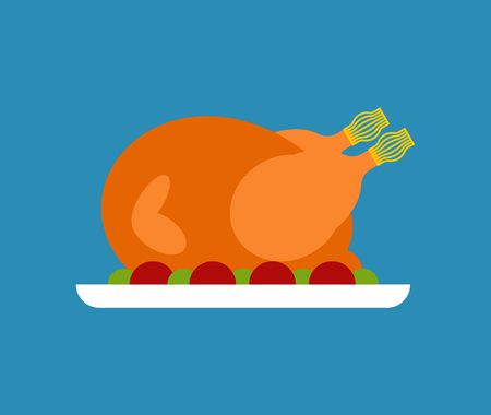 Roasted Turkey isolated for Thanksgiving. Vector illustration Illustration