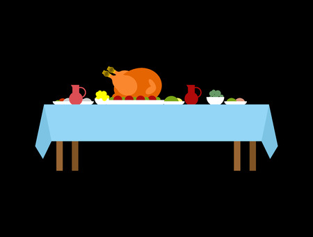 Turkey on table for thanksgiving day. National Family Autumn holiday