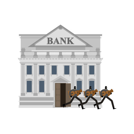 Bank robbery. Robber and bag of money.