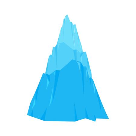 Montagne de glace isolée. Roche de neige. Illustration vectorielle d'iceberg