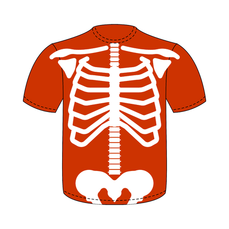 Rib cage T-shirt. Skeleton anatomy human clothes. Skeletal system cross section. vector illustration