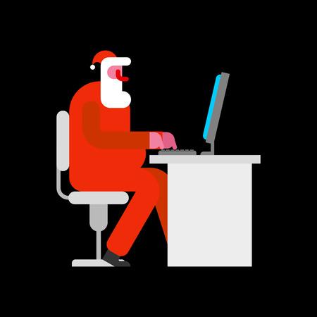 Santa working at computer.