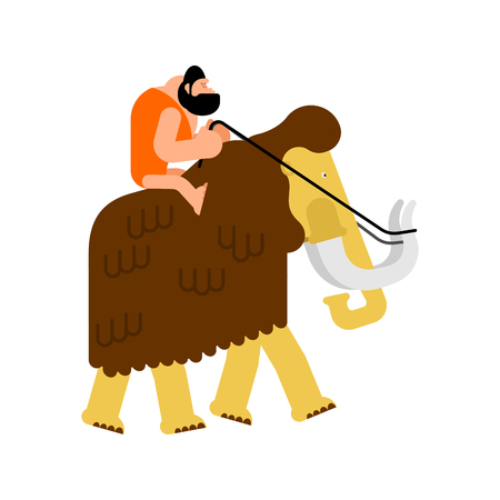 Caveman on mammoth. Prehistoric man saddled animal transport. Иллюстрация