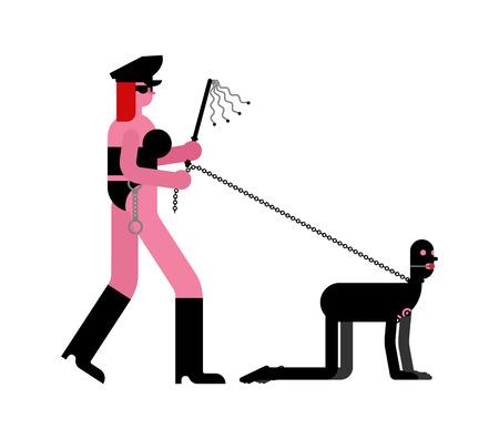 Meesteres en slaaf BDSM. Latex masker en zweep. Vector Illustratie