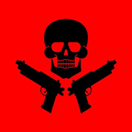 Skull and gun symbol. Illustration