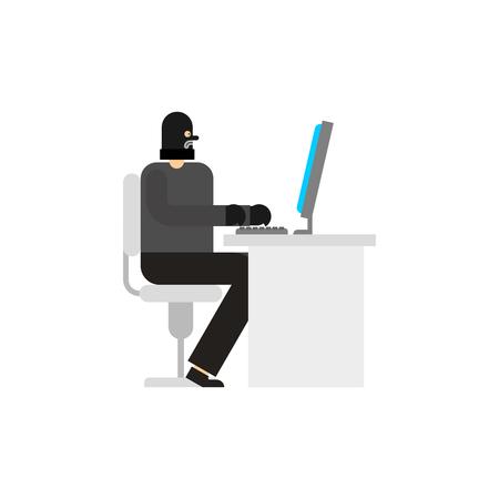 Hacker and PC. Robber internet. Virutal crime. burglar at computer.