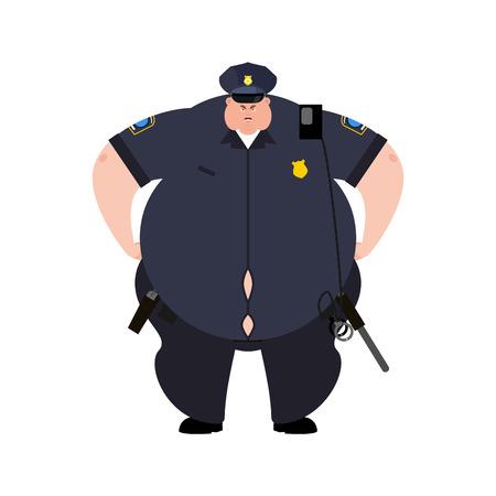Dikke agent. Dikke politieagent. Zwaarlijvige officier politie. vector illustratie Vector Illustratie