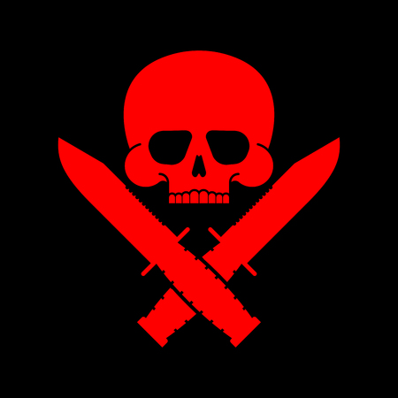 Skull and knife symbol. Army sign. Vector illustration