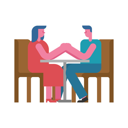 Date at table hold hands. rendezvous in cafe. Man and woman. Love couple