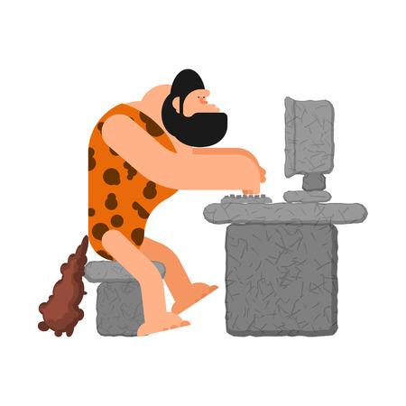 Caveman and computer. Prehistoric man and PC. ancient laptop. Illustration