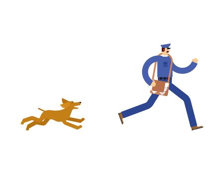 Postman run away from dog. Mailman Running  away from pet
