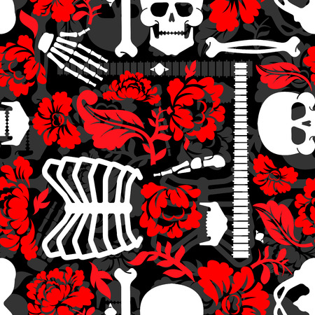 Bones and flowers pattern seamless. Skeleton Skull and roses background. Death and love texture