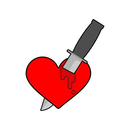 Knife in heart Isolated. Kill love symbol. Vector illustration Vector Illustration