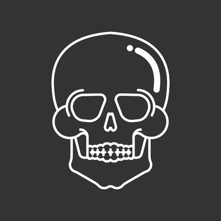 Transparent glass skull isolated. Skeleton head. Vector illustration