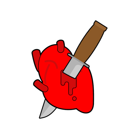 Knife in heart Anatomy. Kill love symbol. Vector illustration