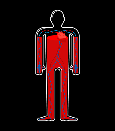 Transparent glass Body and Blood. Body bottle inside Red liquid. Vector illustration
