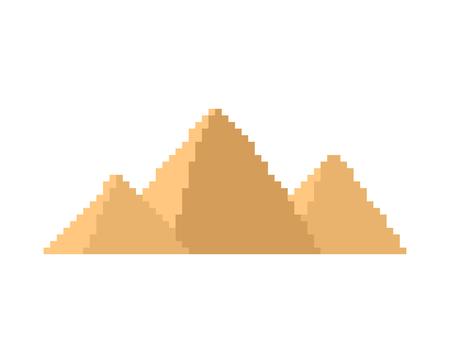 Egyptian pyramids pixel art. Ancients landmark 8 bit. Egypt showplace Pixelate 16bit. Old game computer graphics style