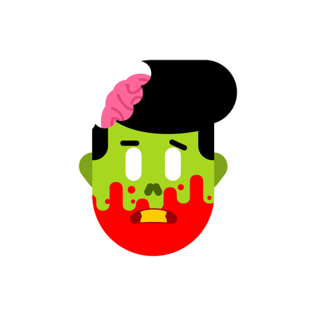 Zombie head isolated. Face of green dead and brains inside skull
