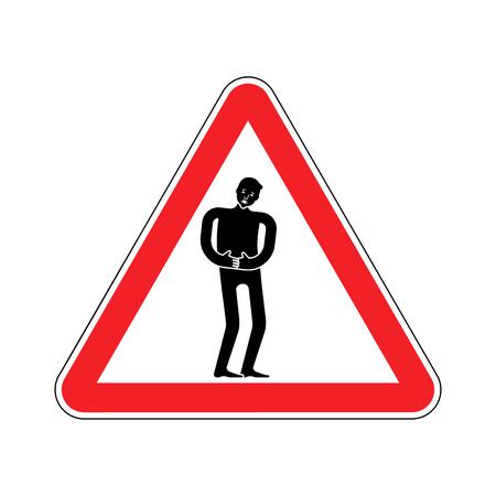 Attention pain. Caution distress man. Red triangle road sign Illustration