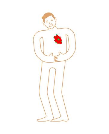 Coeur malade Anatomie de la maladie humaine. Organe interne malade. Virus et bactéries douloureux. Personne malade Vecteurs