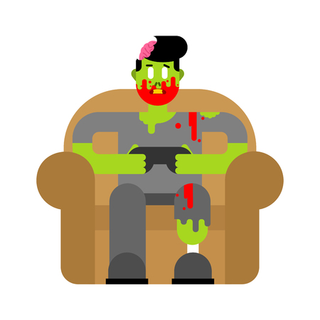 Zombie gamer player video game. Zombie guy and joystick. Dead man sitting on chair playing videogame Illustration