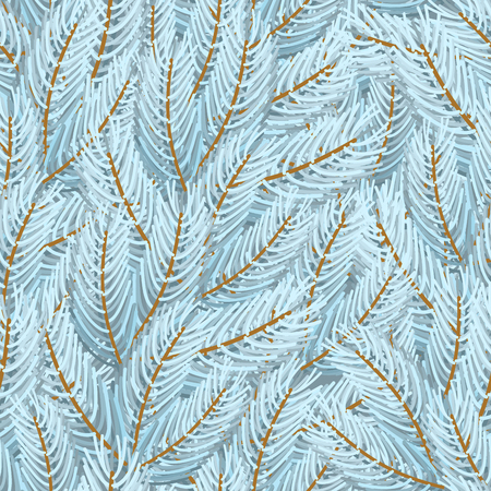Christmas tree white branches pattern seamless. Xmas Background branch Illustration