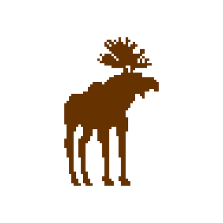Deer pixel art. Moose 8bit. Video game Old school