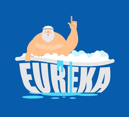 Archimedes in bad. Duim omhoog eureka. oude Griekse wiskundige, natuurkundige. Geweldige ontdekking