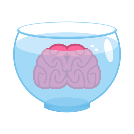 Brain in aquarium. Brains in water. Vector