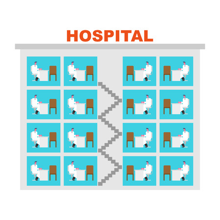 Hospital building Doctors in offices. Clinic infographic. Medical building. Doctor and Patient Illustration