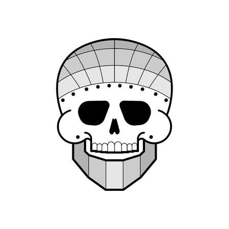 Iron skull. Metal jaw. Steel skeleton head  Illustration