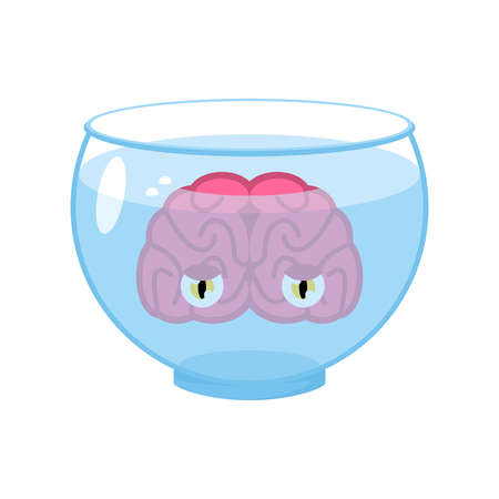 Brain with eyes in aquarium. Brains in water. Vector Illustration