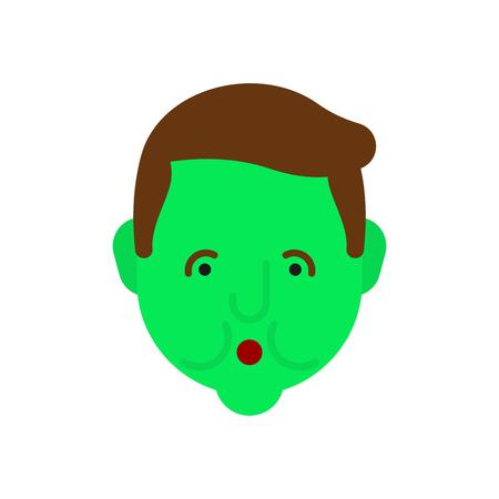Misselijkheid. Groen gezicht. Metafoor van problemen en verminderde gezondheid. pijn medisch zorgconcept Vector Illustratie