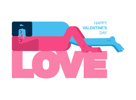 Valentine card. Valentines Day greeting card. Lovers. Man and woman love. Two figures of embrace. Pleasure and passion. Romance illustration 일러스트