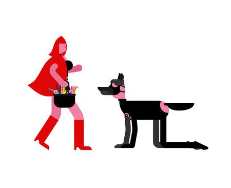 Maîtresse BDSM Chaperon Rouge et loup esclave. masque en latex. Jeux pour adultes