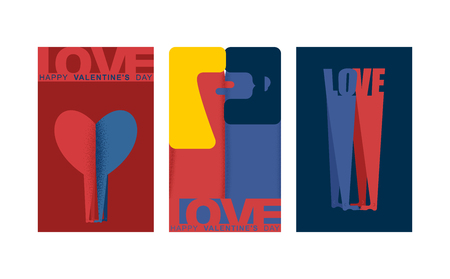 Valentine card set. Valentines Day greeting card. Lovers. Man and woman love. Two figures of embrace. Pleasure and passion. Romance illustration