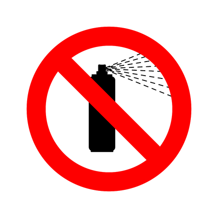 Stop Spray paint bottle. Ban paint can. Red prohibitory sign not