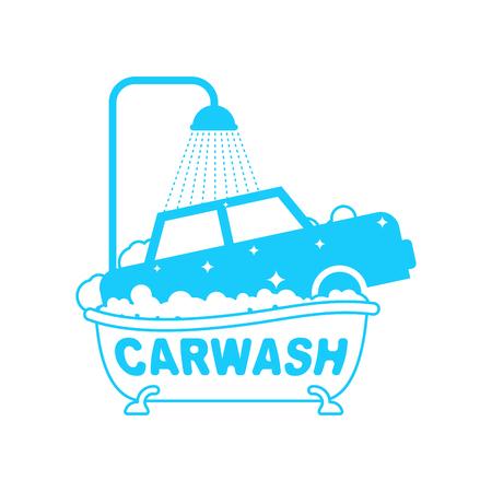 Carwash. Car in bath. Auto wash in bathtub