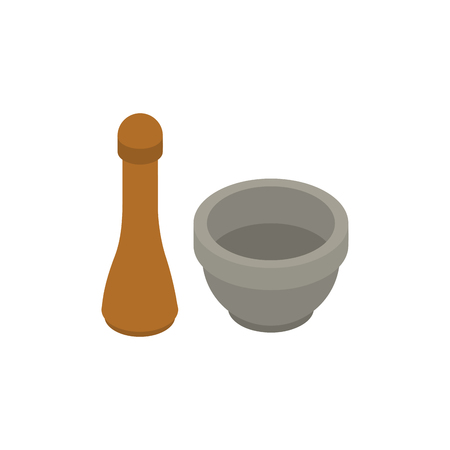 Mortar and pestle isolated. Pharmacy Equipment. Dishware vector illustration. Kitchenware