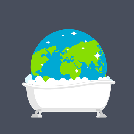 Earth in bath washed. Clean planet. Global Cleaning Earth Concept Illustration