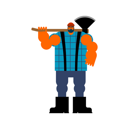 Lumberjack with ax. Woodcutter with axe. vector