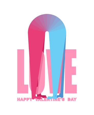 Tarjeta de felicitación del día de San Valentín. Tarjeta de San Valentín. Amantes. Amor de hombre y mujer. Dos figuras de abrazo. Placer y pasión. Ilustración de romance