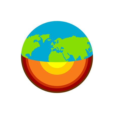 Erdstruktur. Geologie des Planetenschemas. Kern und geologische Kruste Vektorgrafik