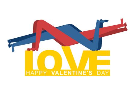 Karta walentynkowa. Walentynki kartkę z życzeniami. Zakochani. Miłość mężczyzny i kobiety. Dwie postacie uścisku. Przyjemność i pasja. Romantyczna ilustracja