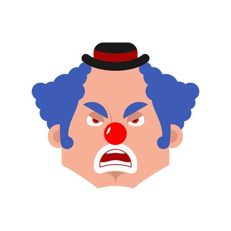 Clown angry emotion avatar. funnyman evil emoji. harlequin face. Vector illustration Иллюстрация
