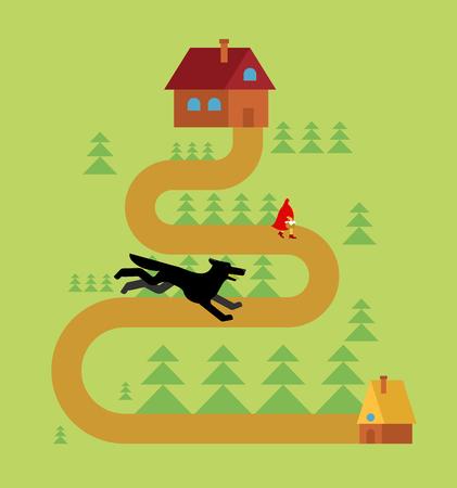 Czerwony Kapturek i wilk w lesie Ilustracje wektorowe