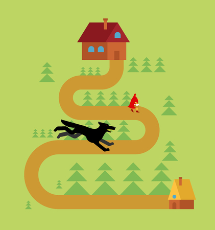 Little Red Riding Hood and wolf in forest Ilustrace